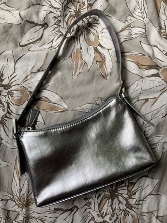 torebka mała srebrna na ramie vintage 80s 90s