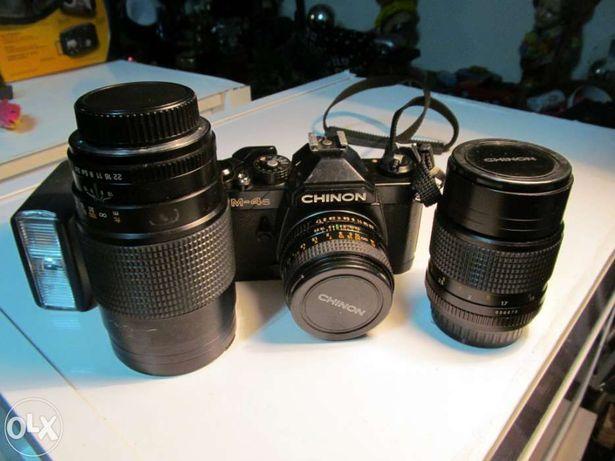 Máquina fotográfica chinon cm-4s com vários acessórios