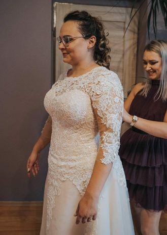 Suknia ślubna kolor beż-ecrue-brzoskwinia 42-48