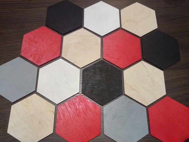 Hexagon, podkładka pod szklankę, kubek, ozdoba na ścianę, decoupage