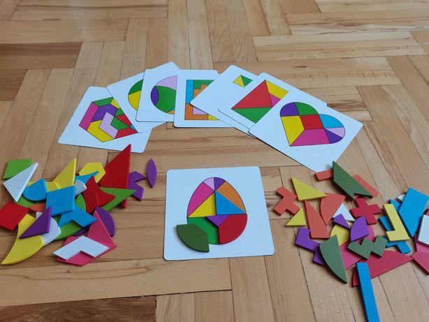 Nowa drewniana układanka geometryczna montessori klocki sorter puzzle
