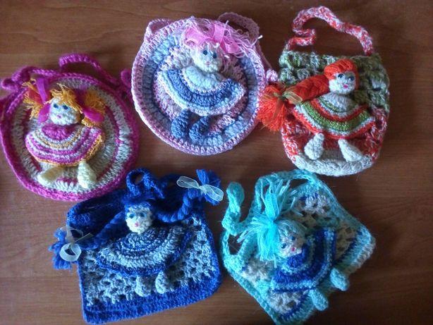 Сумочки для девочек или больших кукол, детские косметички вязаные
