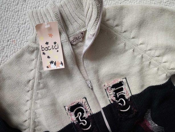Sweter na suwak NOWY__półgolf rozpinany wełna__140
