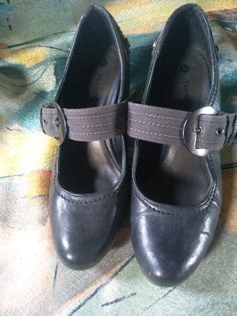 Skórzane półbuty pantofle czółenka 38