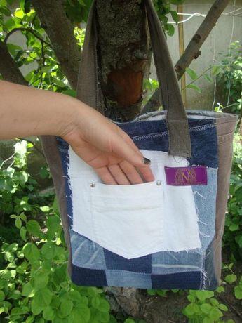 Джинсовая сумка - торба на лето