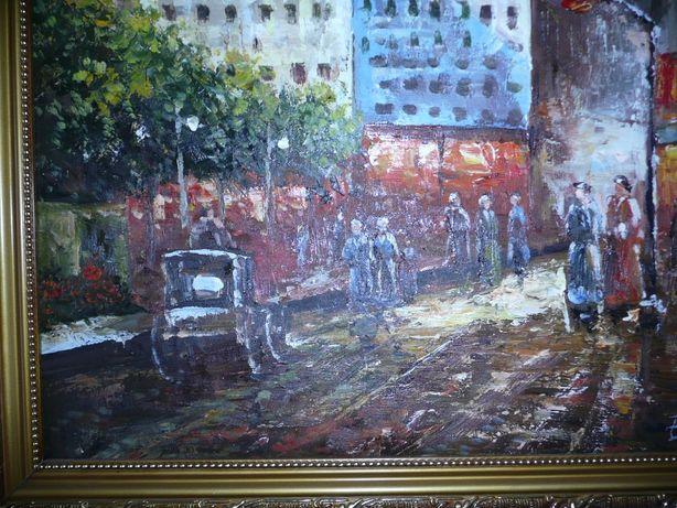 sygnowany obraz olejny ozdobna rama miasto ulica ludzie