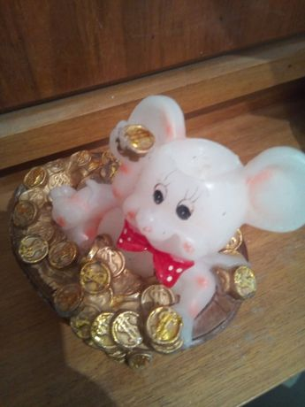 символ 2020 года декоративная свечка - мышка с монетами подарок декор