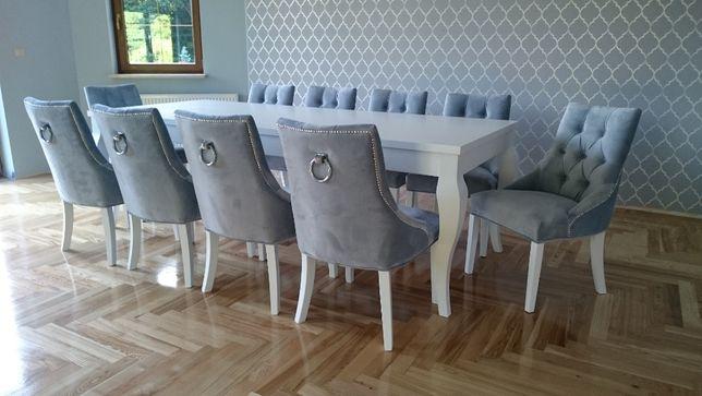 Krzesło tkanina siwa szara z kołatką hampton glamour chesterfield nowe