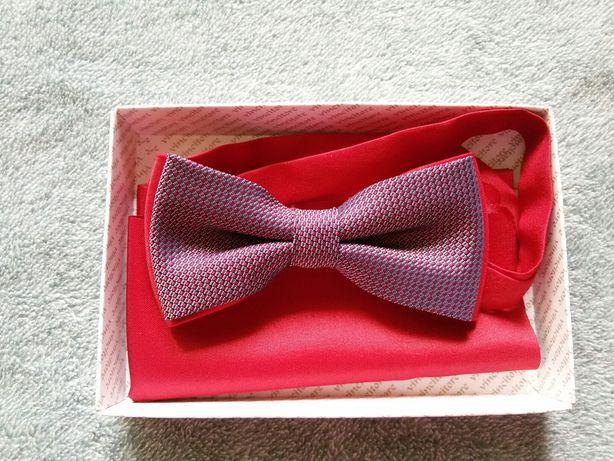Wyprzedaż elegancki zestaw muszka z regulacją i poszetka na ślub