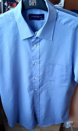 Koszula męska krótki rękaw- niebieska 38