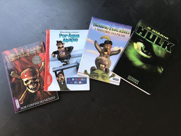 Livros Pirata das caraibas / O diario Hulk / Shrek 3 / Por água abaixo