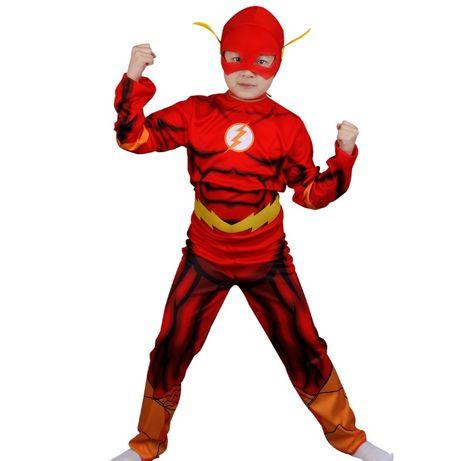 Детский костюм Героя комиксов DC Флеш + маска,на рост от 100 до 135см.