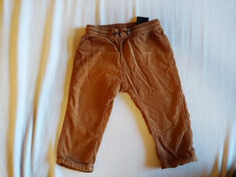 Ocieplane spodnie sztruksowe 80 ciepły brąz