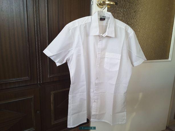 Biała koszula męska z krótkim rękawem , rozmiar M