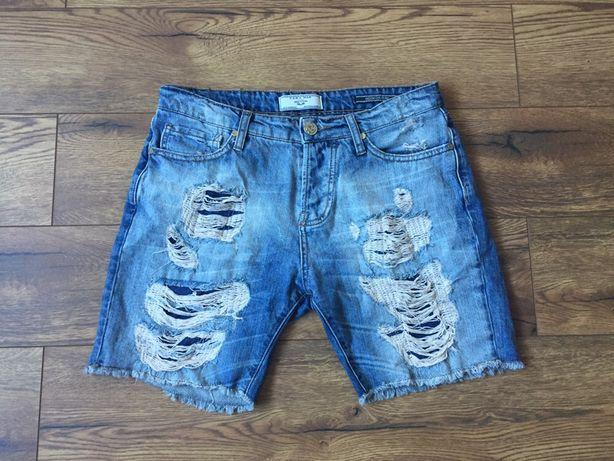 Zara Man krótkie spodenki jeansowe jeans dziury z dziurami  38 XS/S