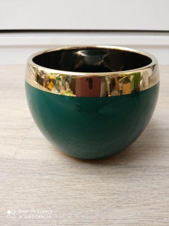 Doniczka osłonka kula gold & green