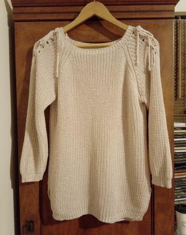 Sweter sweterek ażurowy 38 M brudny pudrowy róż oversize