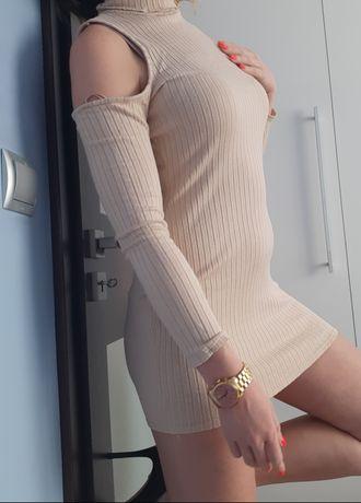 Sukienka mini missguided M krem beż