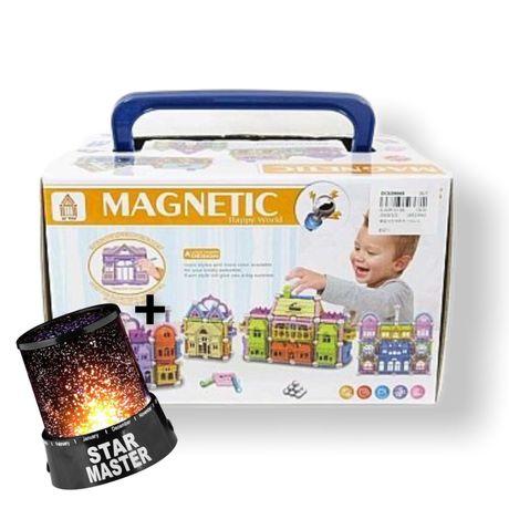 Конструктор магнитный детский Magic Magnetic Замок 150дет+ ночник star