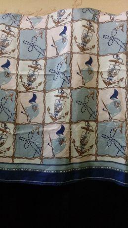 """Шёлковый платок с классическим принтом """"Английский королевский фрегат"""""""