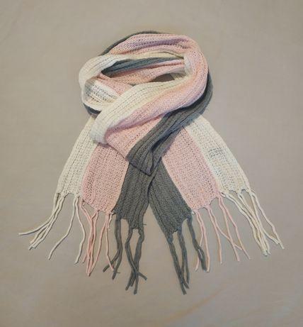 Шарф / красивый теплый шарфик / розовый-белый-серый / REDHERRING