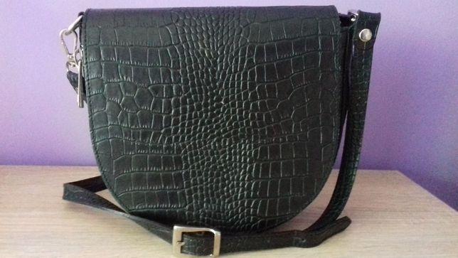 Czarna torebka listonoszka skóra naturalna nowa