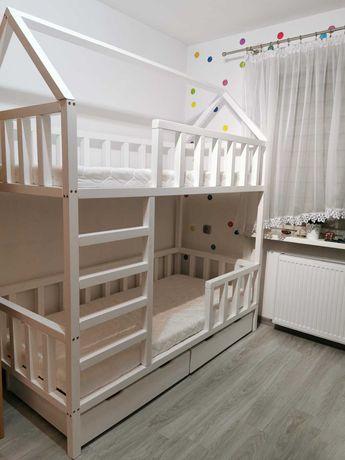 Łóżko dziecięce drewniane piętrowe domek dla chłopca dziewczynki sosna