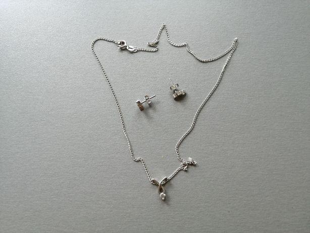 Łańcuszek z zawieszką + kolczyki - srebrne - komplet firmy KRUK