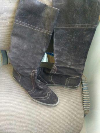Замшевые осенние сапоги 41 размер