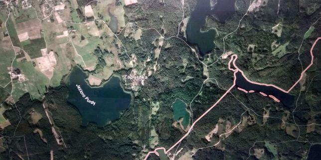 Purda działki blisko jeziora i las 5000 m2 koło Olsztyna jez Serwent