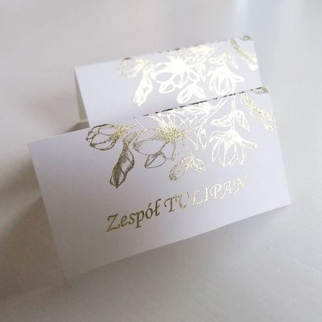 Winietki na stół weselny ZŁOTA MAGNOLIA składane