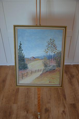 Stary obraz malowany, sygnowany E GAND 56' Ze Szwecji.