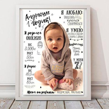 НОВИНКА! Метрика для новорожденного с рамкой. Плакат на годик