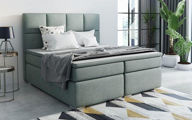 Łóżko kontynentalne z pojemnikami i materacami BOXSPRING wym 160x200