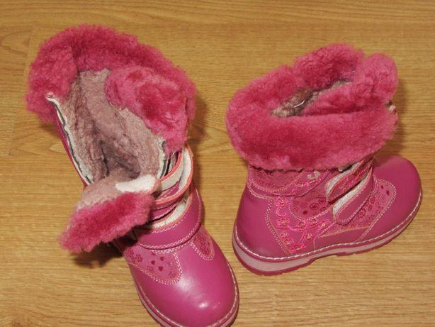 Детская обувь зимние кожаные сапоги с мехом Новые