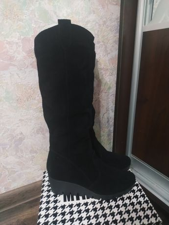 Замшевые зимние сапоги, сапожки , ботинки зима