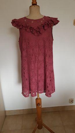 Sukienka koronkowa H&M 44 tunika antyczny róż