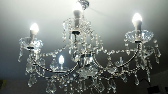 Люстра 75 см стекло серебро в зал