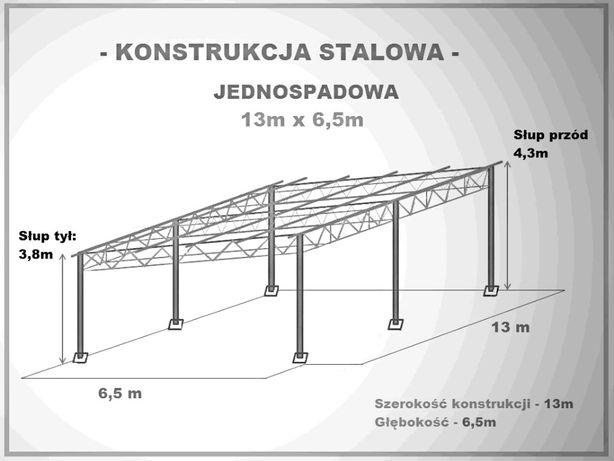 Konstrukcja stalowa skręcana wiata garaż 6,5x13m Hala Magazyn Blaszak