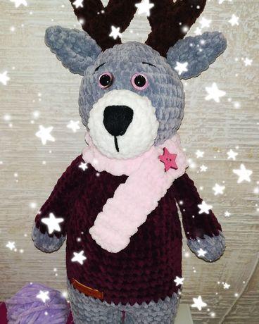 Плюшева радість (плюшеві іграшки) Різдняний олень амигуруми handmade