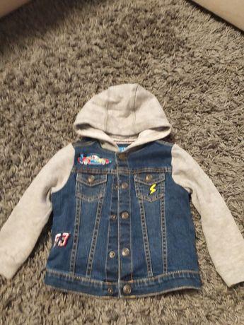 Джинсовый пиджак с трикотажными рукавами с небольшим начесом