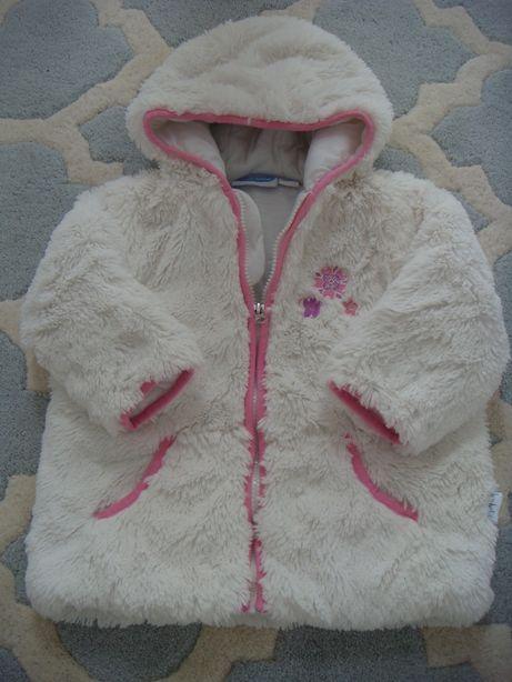 śliczna długa biała kurtka / futerko dla dziewczynki ok. 2 lata