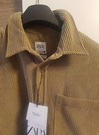 Koszula sztruksowa z kołnierzem  L Nowa Zara