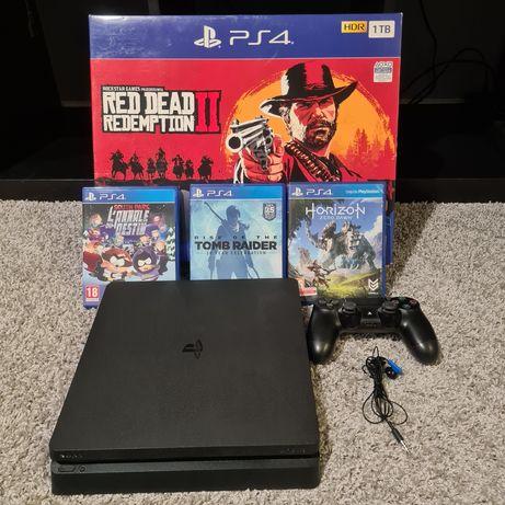 Konsola PlayStation 4 Slim 1 TB + Pad+słuchawka i mikrofon+3 gry