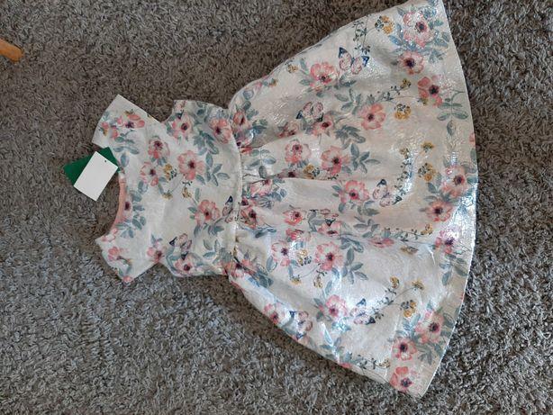H&M Sukienka dla dziewczynki  Srebrna NOWA