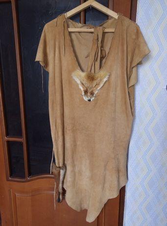Кожаное платье 46-48 размер мех лисы кожа туника