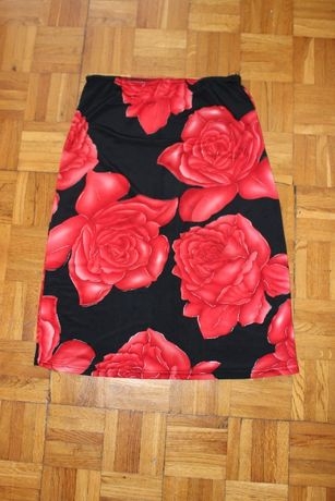 Z FRANCJI JAK NOWA B. ELEGANCKA spódnica czarno-czerwona w kwiaty 38 M