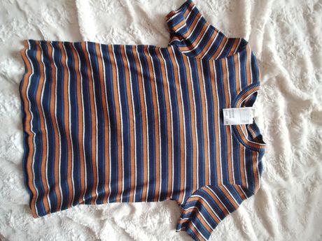 H&M nowy elastyczny t-shirt w paski rozmiar L