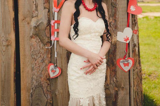 Свадебное вечернее выпускное платье - бюстье цвета шампанского фатин к