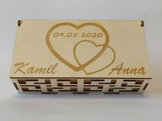 Pudełko ślubne prezent cięcie grawerowanie wycinanie